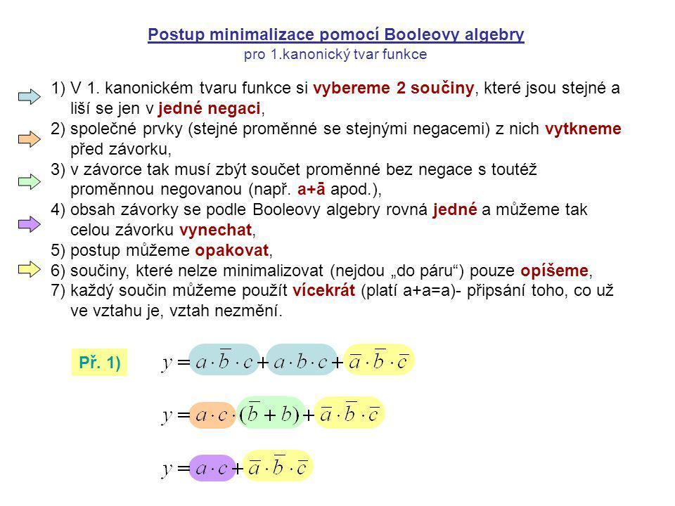 1)V 1. kanonickém tvaru funkce si vybereme 2 součiny, které jsou stejné a liší se jen v jedné negaci, 2)společné prvky (stejné proměnné se stejnými ne