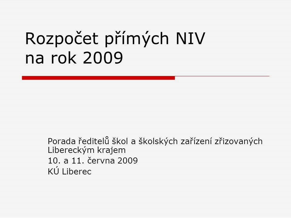 Rozpočet přímých NIV na rok 2009 Porada ředitelů škol a školských zařízení zřizovaných Libereckým krajem 10.