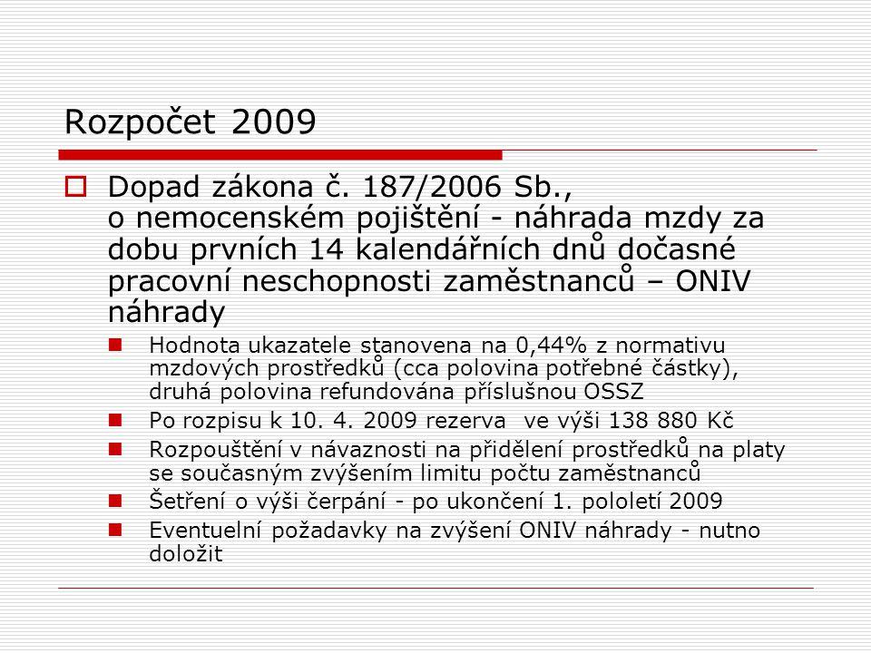Rozpočet 2009  Dopad zákona č.