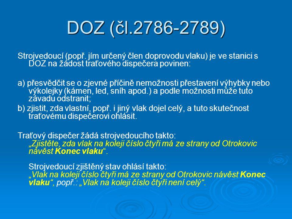 DOZ (čl.2786-2789) Strojvedoucí (popř.