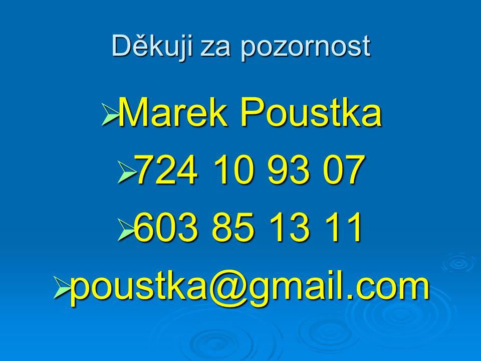 Děkuji za pozornost  Marek Poustka  724 10 93 07  603 85 13 11  poustka@gmail.com
