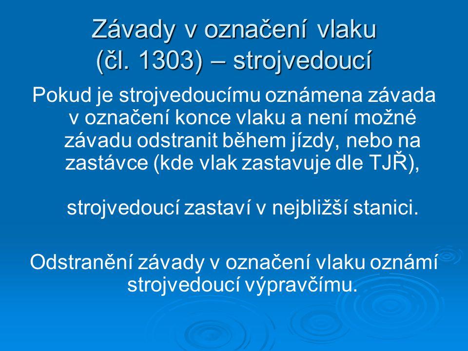 Závady v označení vlaku (čl.