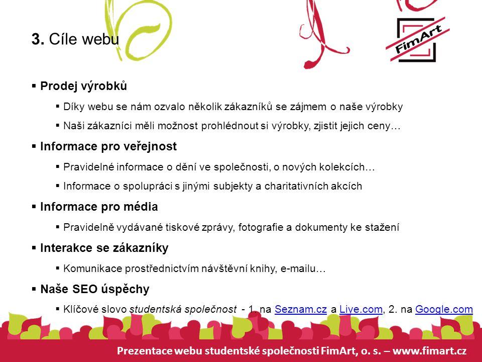Prezentace webu studentské společnosti FimArt, o. s. – www.fimart.cz 3. Cíle webu  Prodej výrobků  Díky webu se nám ozvalo několik zákazníků se zájm