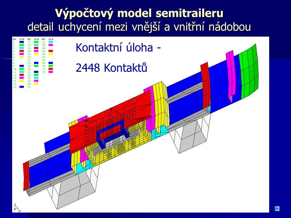 Výpočtový model semitraileru detail uchycení mezi vnější a vnitřní nádobou Kontaktní úloha - 2448 Kontaktů