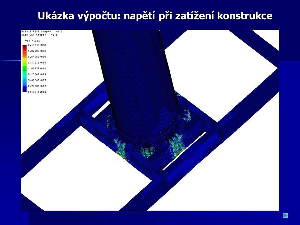 Ukázka výpočtu: napětí při zatížení konstrukce Ukázka výpočtu: napětí při zatížení konstrukce