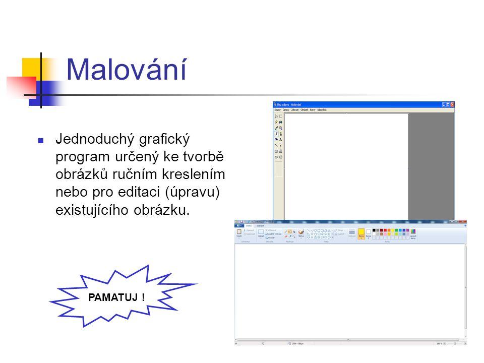 Malování Jednoduchý grafický program určený ke tvorbě obrázků ručním kreslením nebo pro editaci (úpravu) existujícího obrázku.