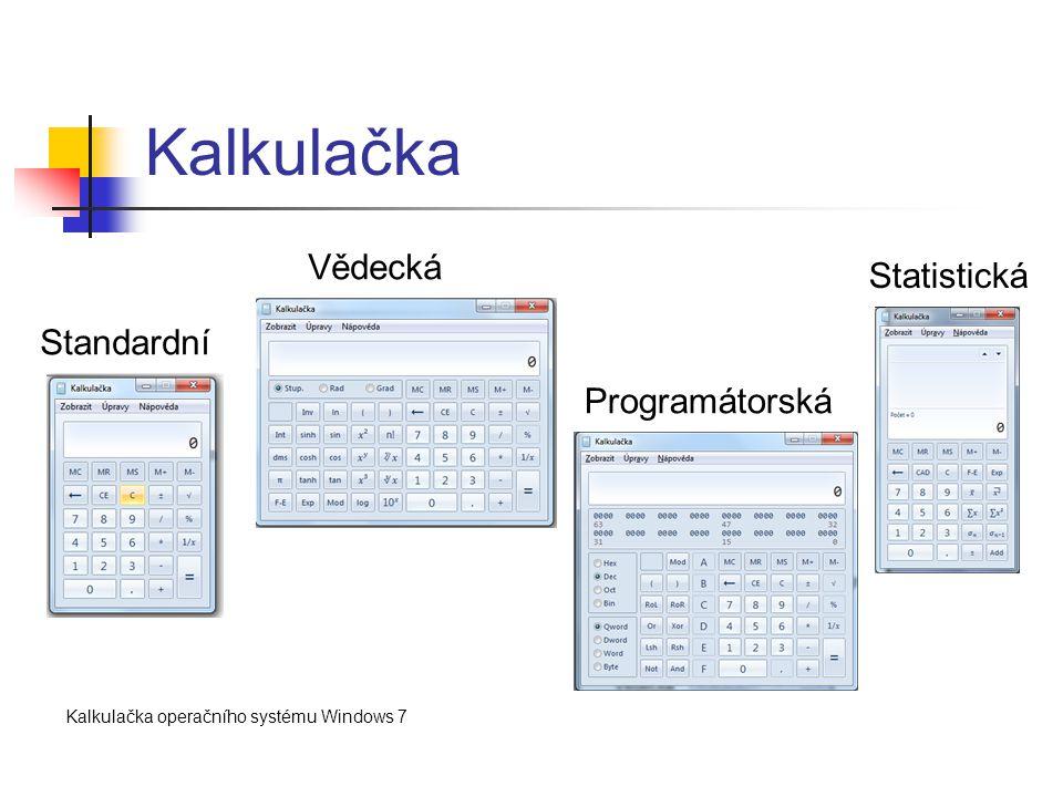 Kalkulačka Standardní Vědecká Programátorská Statistická Kalkulačka operačního systému Windows 7