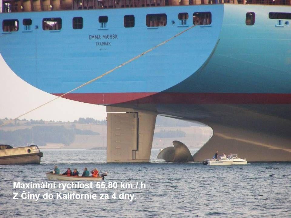 Maximální rychlost 55,80 km / h Z Číny do Kalifornie za 4 dny.