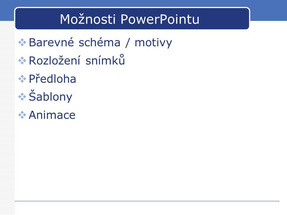 Možnosti PowerPointu  Barevné schéma / motivy  Rozložení snímků  Předloha  Šablony  Animace