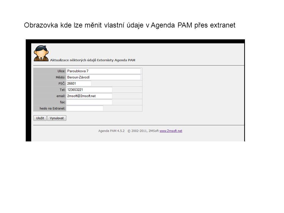 Obrazovka kde lze měnit vlastní údaje v Agenda PAM přes extranet