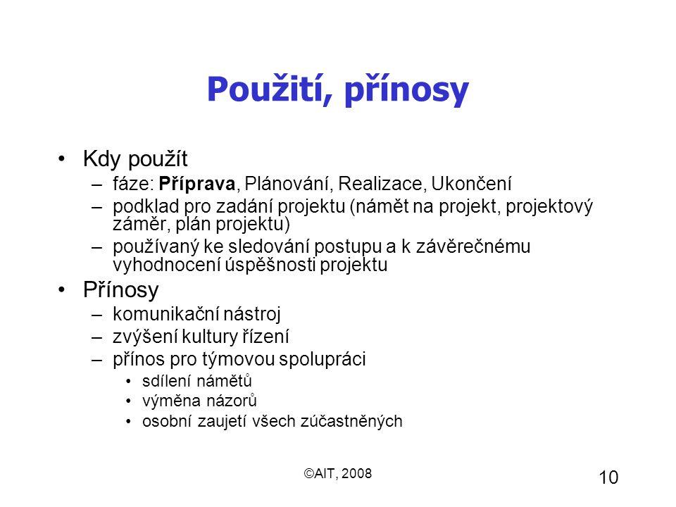 ©AIT, 2008 10 Použití, přínosy Kdy použít –fáze: Příprava, Plánování, Realizace, Ukončení –podklad pro zadání projektu (námět na projekt, projektový z