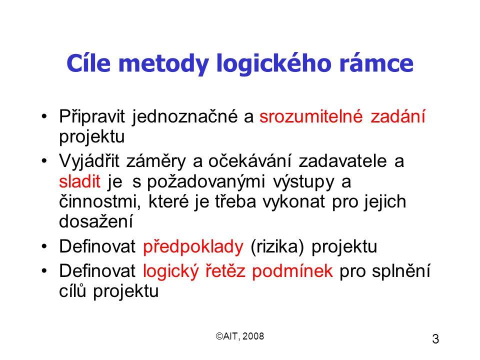 ©AIT, 2008 3 Cíle metody logického rámce Připravit jednoznačné a srozumitelné zadání projektu Vyjádřit záměry a očekávání zadavatele a sladit je s pož