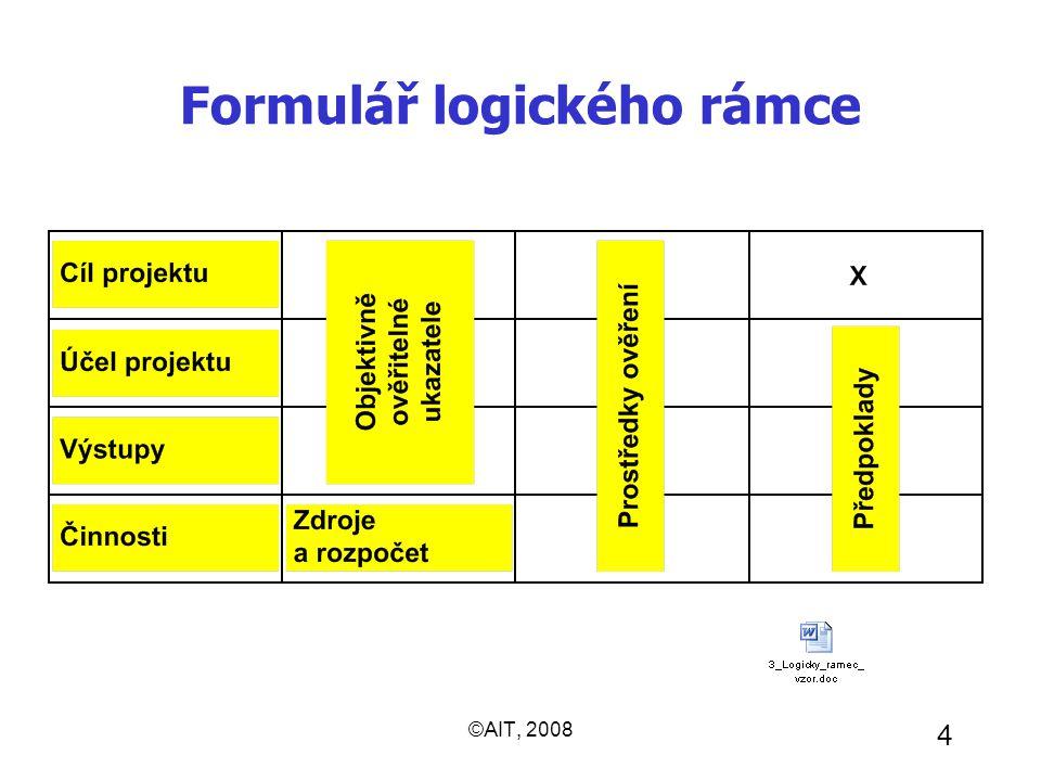 ©AIT, 2008 4 Formulář logického rámce