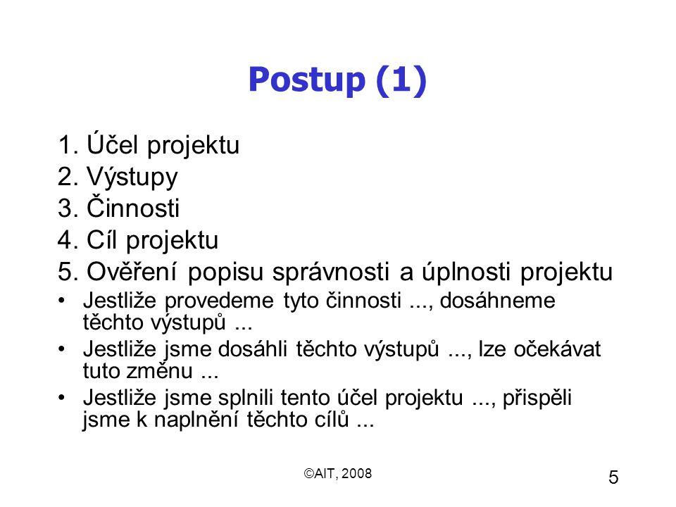©AIT, 2008 5 Postup (1) 1. Účel projektu 2. Výstupy 3. Činnosti 4. Cíl projektu 5. Ověření popisu správnosti a úplnosti projektu Jestliže provedeme ty