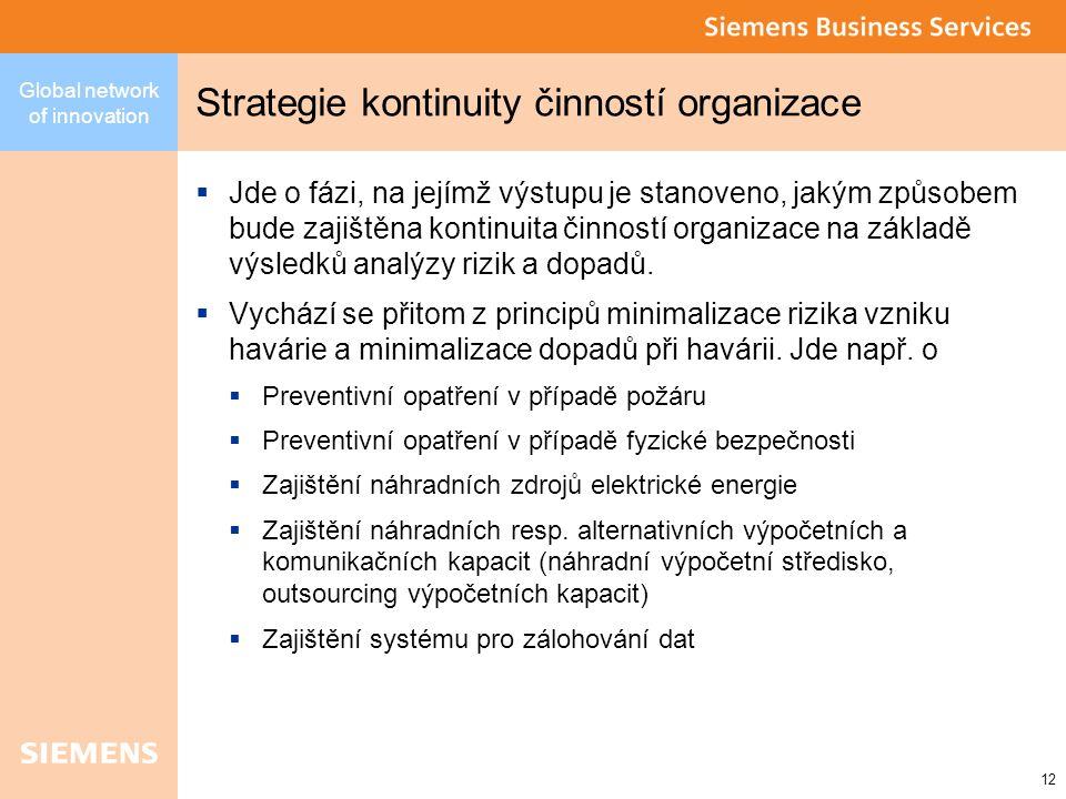 Global network of innovation 12 Strategie kontinuity činností organizace  Jde o fázi, na jejímž výstupu je stanoveno, jakým způsobem bude zajištěna kontinuita činností organizace na základě výsledků analýzy rizik a dopadů.