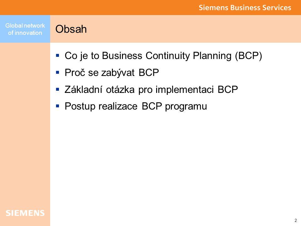 Global network of innovation 3 Co to je Business Continuity Planning (BCP)  BCP – souhrn aktivit zaměřených na redukci rizika vzniku havárie a omezení dopadů havárie na kritické podnikové procesy.