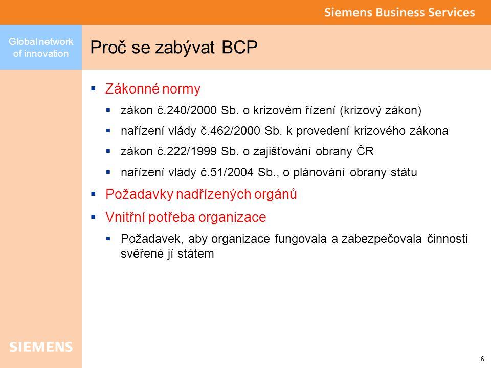 Global network of innovation 6 Proč se zabývat BCP  Zákonné normy  zákon č.240/2000 Sb.