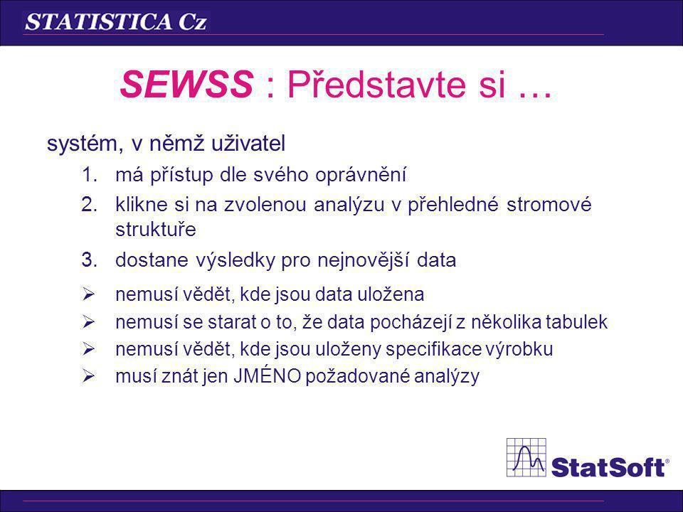 SEWSS : Představte si … systém, v němž uživatel 1.má přístup dle svého oprávnění 2.klikne si na zvolenou analýzu v přehledné stromové struktuře 3.dostane výsledky pro nejnovější data  nemusí vědět, kde jsou data uložena  nemusí se starat o to, že data pocházejí z několika tabulek  nemusí vědět, kde jsou uloženy specifikace výrobku  musí znát jen JMÉNO požadované analýzy