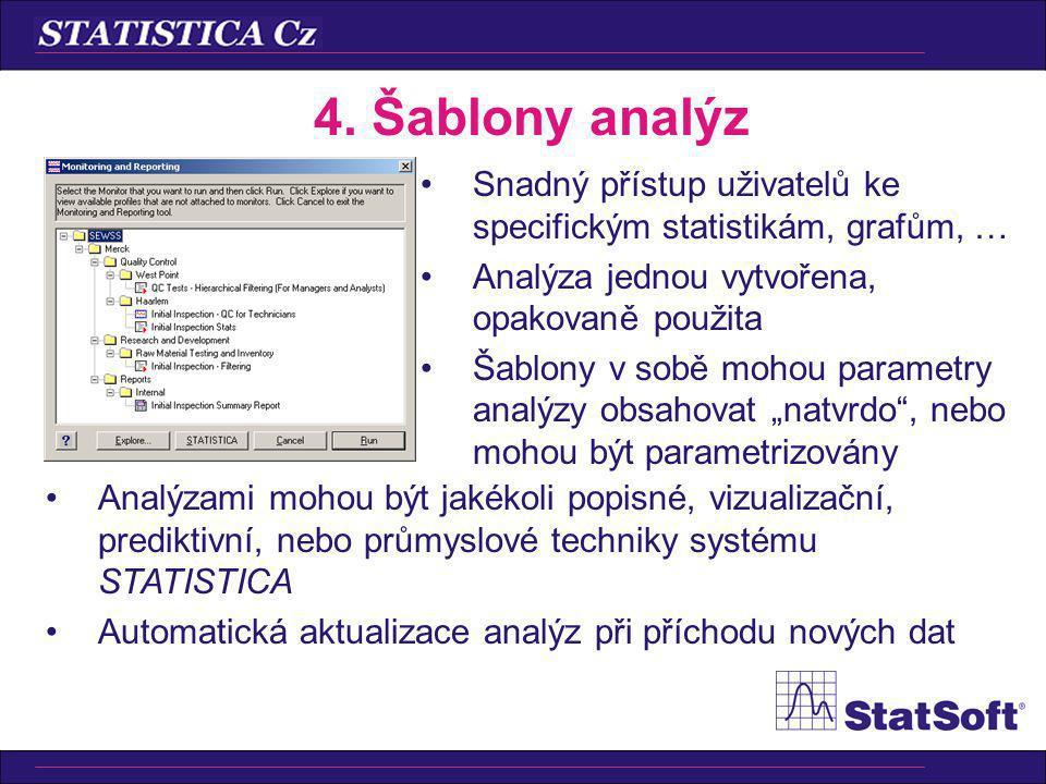 4. Šablony analýz Snadný přístup uživatelů ke specifickým statistikám, grafům, … Analýza jednou vytvořena, opakovaně použita Šablony v sobě mohou para
