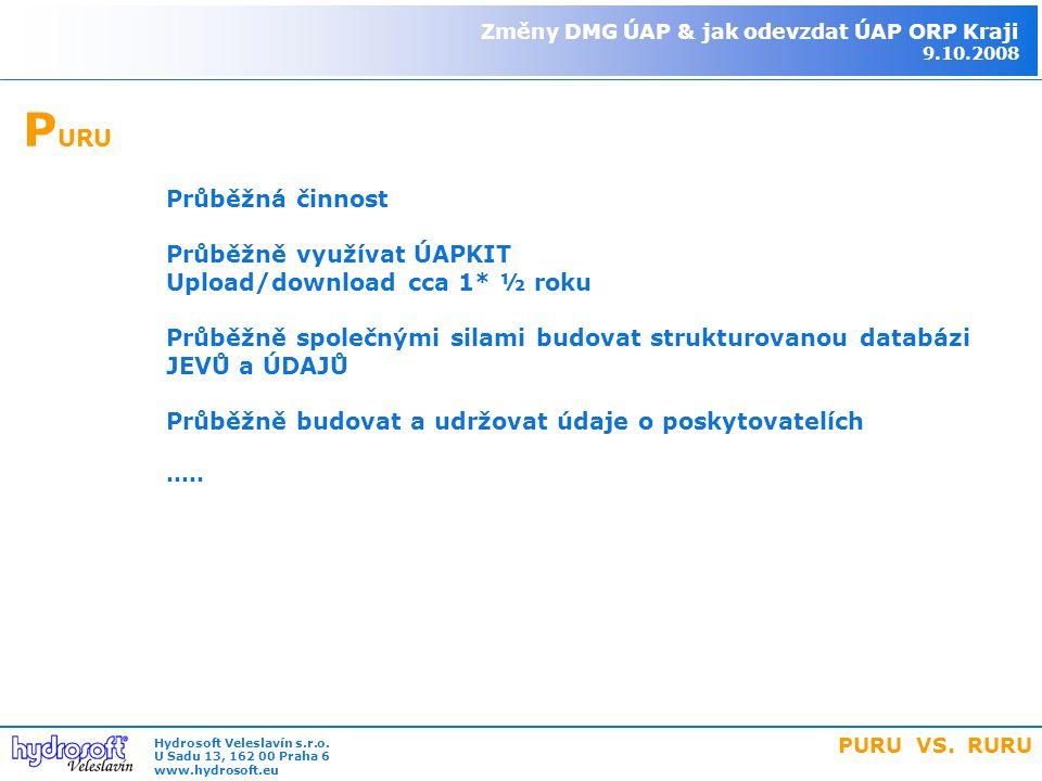 P URU Průběžná činnost Průběžně využívat ÚAPKIT Upload/download cca 1* ½ roku Průběžně společnými silami budovat strukturovanou databázi JEVŮ a ÚDAJŮ Průběžně budovat a udržovat údaje o poskytovatelích.....