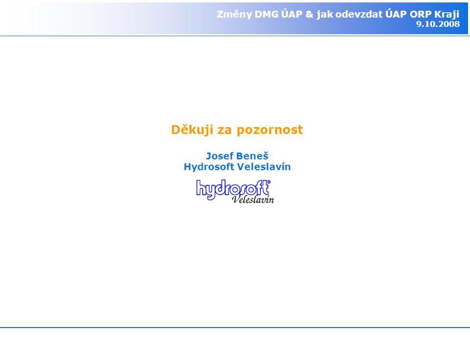 Změny DMG ÚAP & jak odevzdat ÚAP ORP Kraji 9.10.2008 Děkuji za pozornost Josef Beneš Hydrosoft Veleslavín