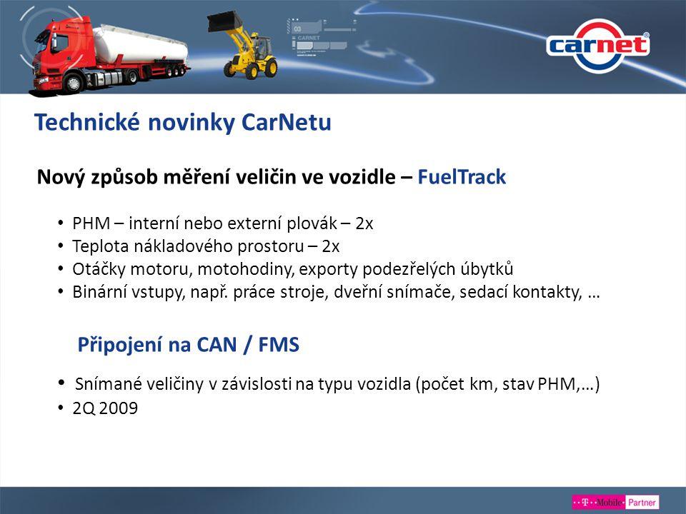 Nový způsob měření veličin ve vozidle – FuelTrack PHM – interní nebo externí plovák – 2x Teplota nákladového prostoru – 2x Otáčky motoru, motohodiny,