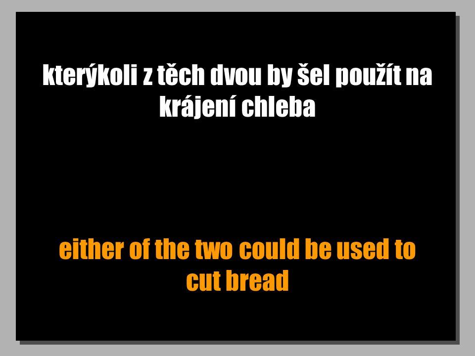 kterýkoli z těch dvou by šel použít na krájení chleba either of the two could be used to cut bread