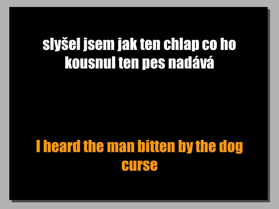 slyšel jsem jak ten chlap co ho kousnul ten pes nadává I heard the man bitten by the dog curse