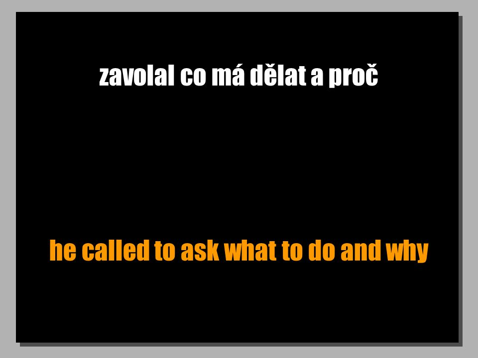 zavolal co má dělat a proč he called to ask what to do and why