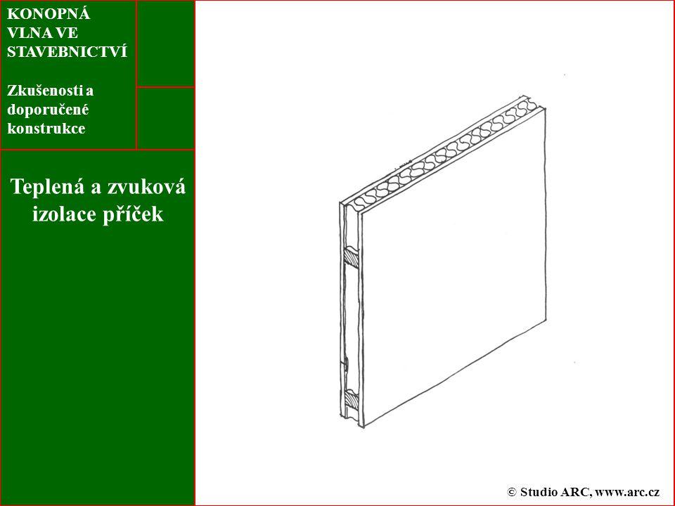 KONOPNÁ VLNA VE STAVEBNICTVÍ Zkušenosti a doporučené konstrukce Teplená a zvuková izolace příček © Studio ARC, www.arc.cz