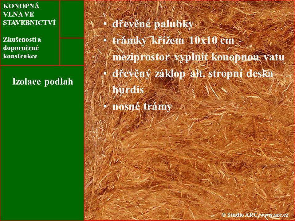 KONOPNÁ VLNA VE STAVEBNICTVÍ Zkušenosti a doporučené konstrukce Izolace podlah dřevěné palubky trámky křížem 10x10 cm meziprostor vyplnit konopnou vatu dřevěný záklop alt.