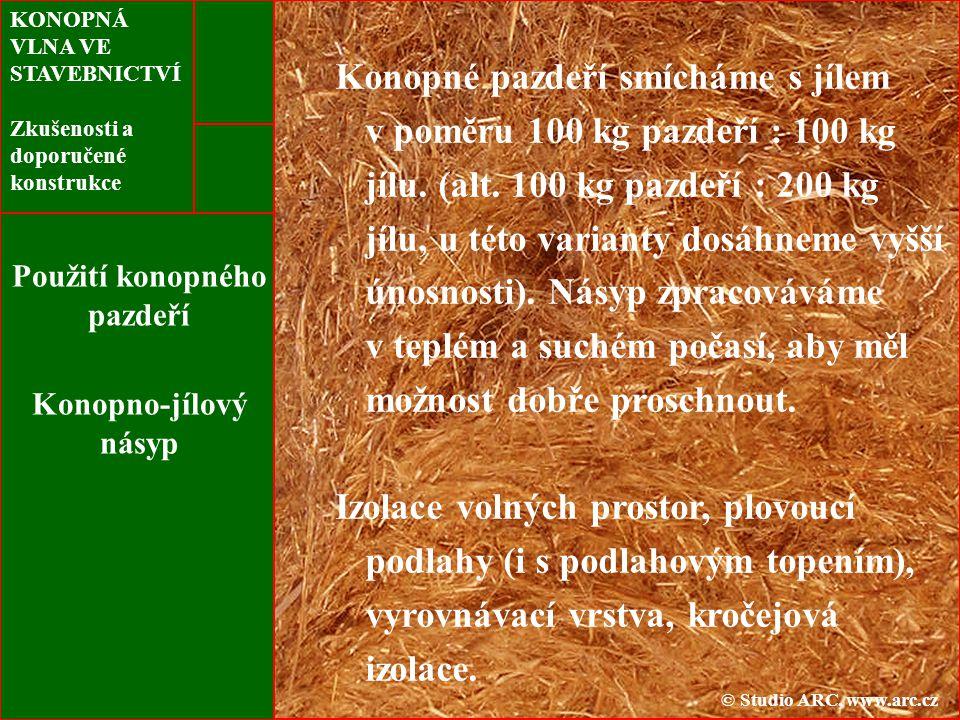 KONOPNÁ VLNA VE STAVEBNICTVÍ Zkušenosti a doporučené konstrukce Použití konopného pazdeří Konopno-jílový násyp Konopné pazdeří smícháme s jílem v poměru 100 kg pazdeří : 100 kg jílu.