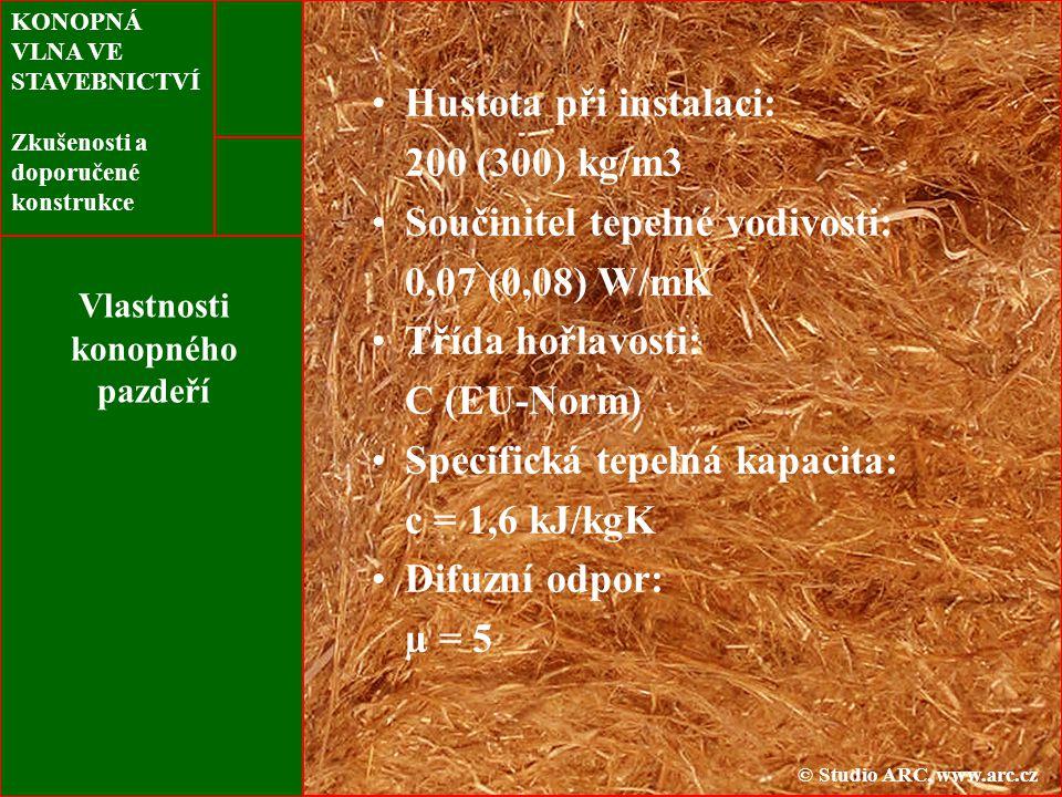 KONOPNÁ VLNA VE STAVEBNICTVÍ Zkušenosti a doporučené konstrukce Vlastnosti konopného pazdeří Hustota při instalaci: 200 (300) kg/m3 Součinitel tepelné vodivosti: 0,07 (0,08) W/mK Třída hořlavosti: C (EU-Norm) Specifická tepelná kapacita: c = 1,6 kJ/kgK Difuzní odpor: µ = 5 © Studio ARC, www.arc.cz