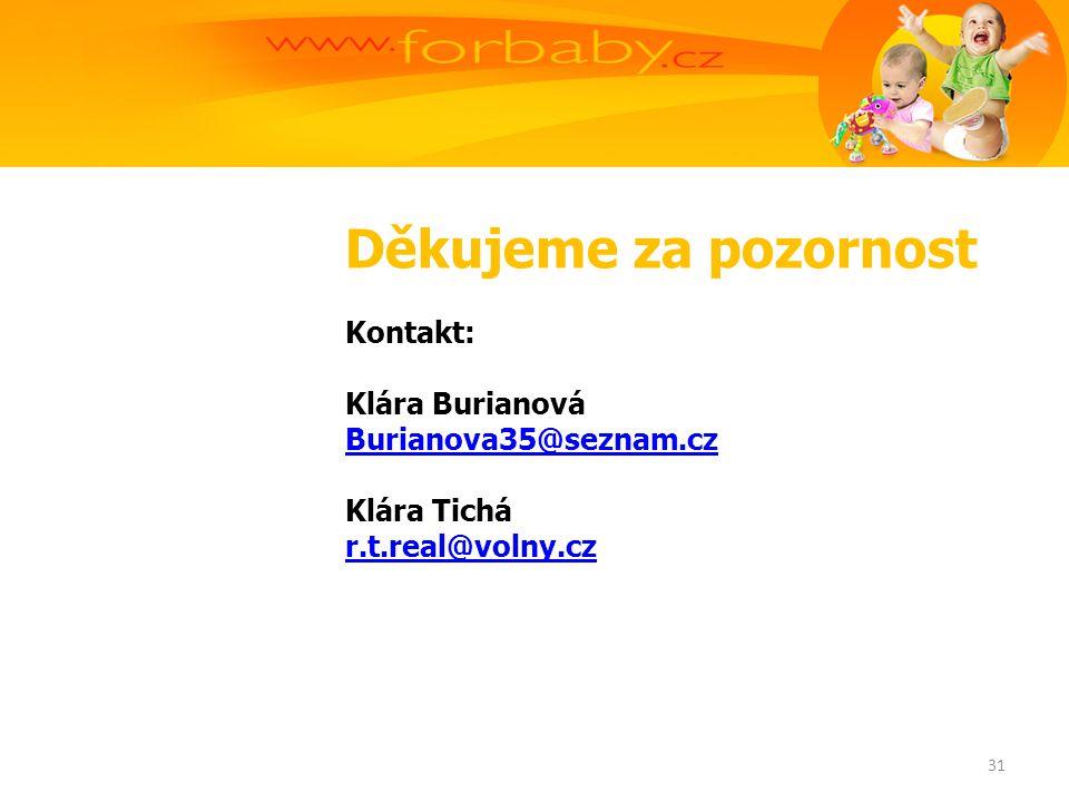 Děkujeme za pozornost Kontakt: Klára Burianová Burianova35@seznam.cz Klára Tichá r.t.real@volny.cz 31