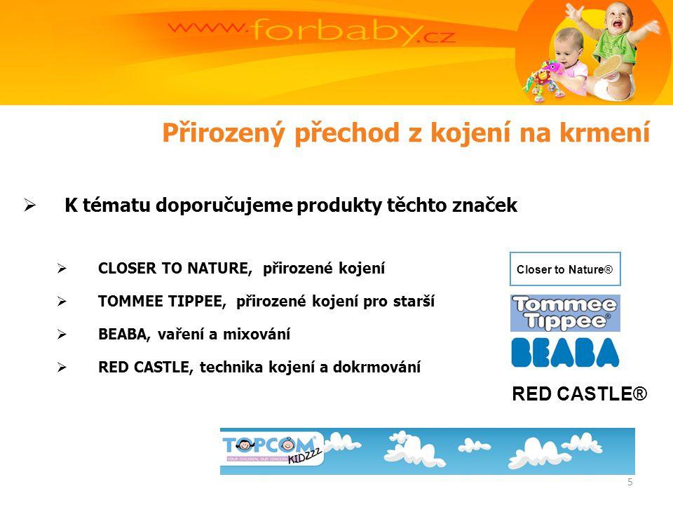 Přirozený přechod z kojení na krmení  K tématu doporučujeme produkty těchto značek  CLOSER TO NATURE, přirozené kojení  TOMMEE TIPPEE, přirozené kojení pro starší  BEABA, vaření a mixování  RED CASTLE, technika kojení a dokrmování Closer to Nature® RED CASTLE® 5