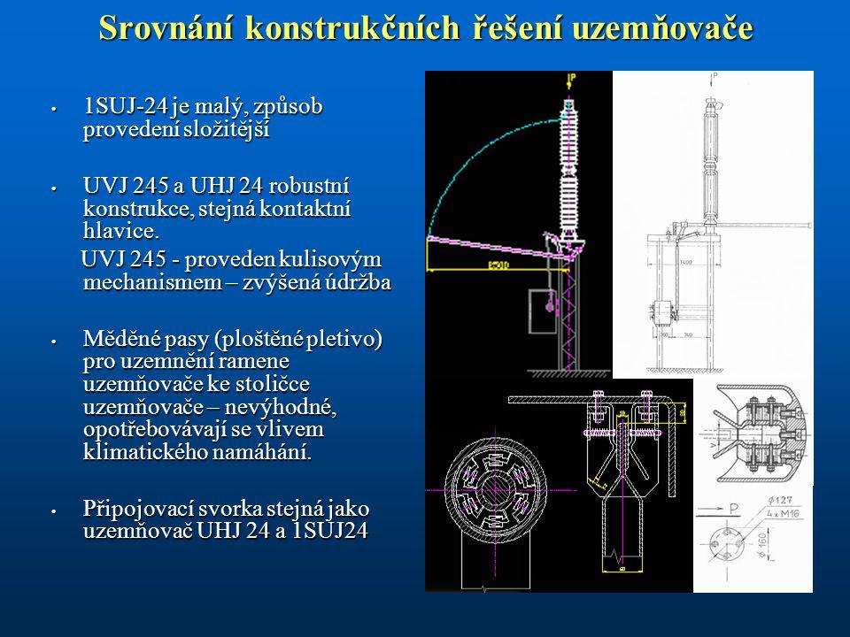 Srovnání konstrukčních řešení uzemňovače 1SUJ-24 je malý, způsob provedení složitější 1SUJ-24 je malý, způsob provedení složitější UVJ 245 a UHJ 24 robustní konstrukce, stejná kontaktní hlavice.