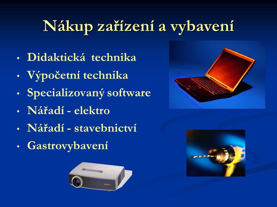 Nákup zařízení a vybavení Didaktická technika Výpočetní technika Specializovaný software Nářadí - elektro Nářadí - stavebnictví Gastrovybavení