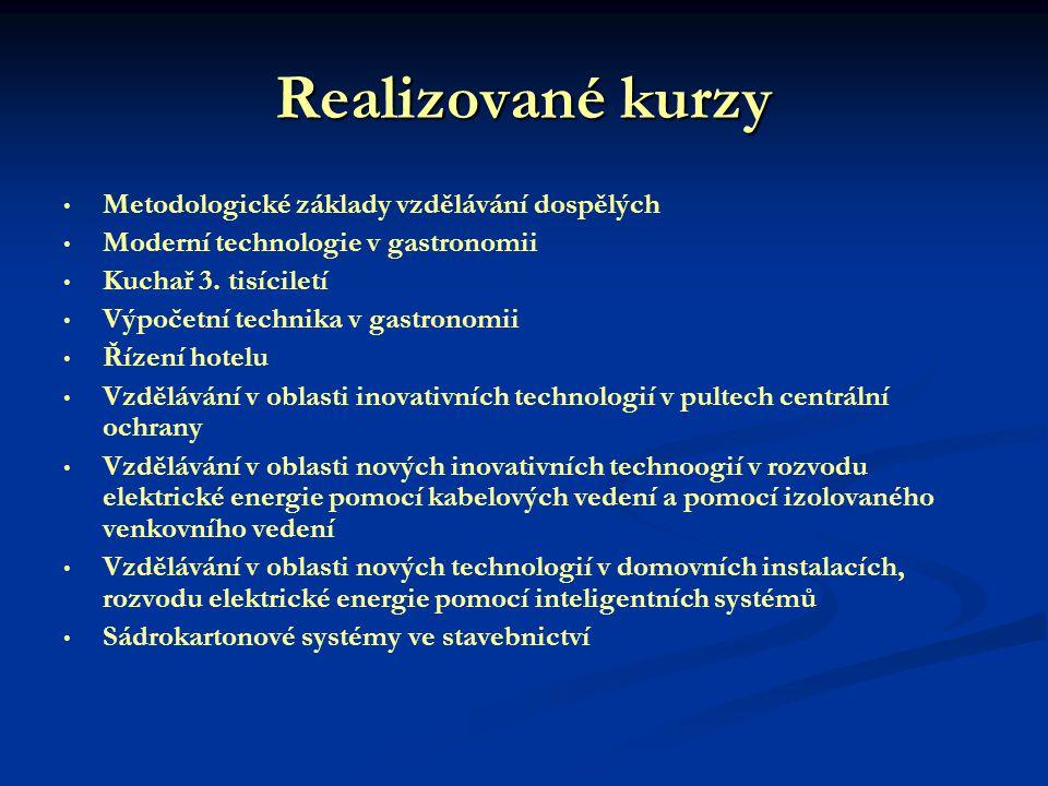 Realizované kurzy Metodologické základy vzdělávání dospělých Moderní technologie v gastronomii Kuchař 3.