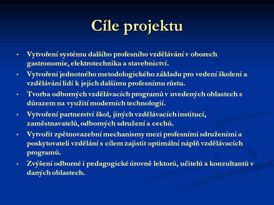 Cíle projektu Vytvoření systému dalšího profesního vzdělávání v oborech gastronomie, elektrotechnika a stavebnictví.