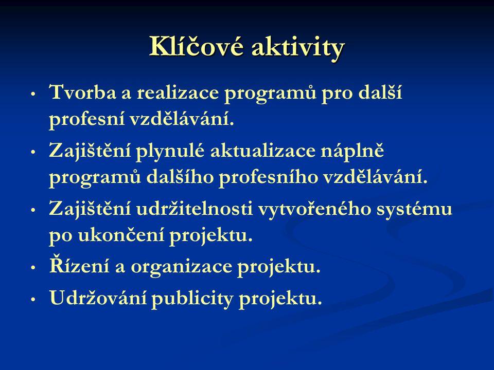 Klíčové aktivity Tvorba a realizace programů pro další profesní vzdělávání.