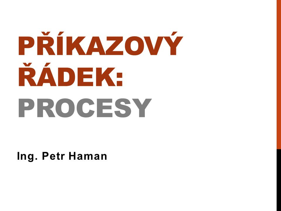 PŘÍKAZOVÝ ŘÁDEK: PROCESY Ing. Petr Haman
