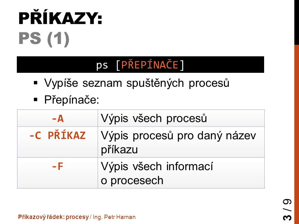 PŘÍKAZY: PS (1)  Vypíše seznam spuštěných procesů  Přepínače: Příkazový řádek: procesy / Ing. Petr Haman 3 / 9 ps [PŘEPÍNAČE] -A Výpis všech procesů