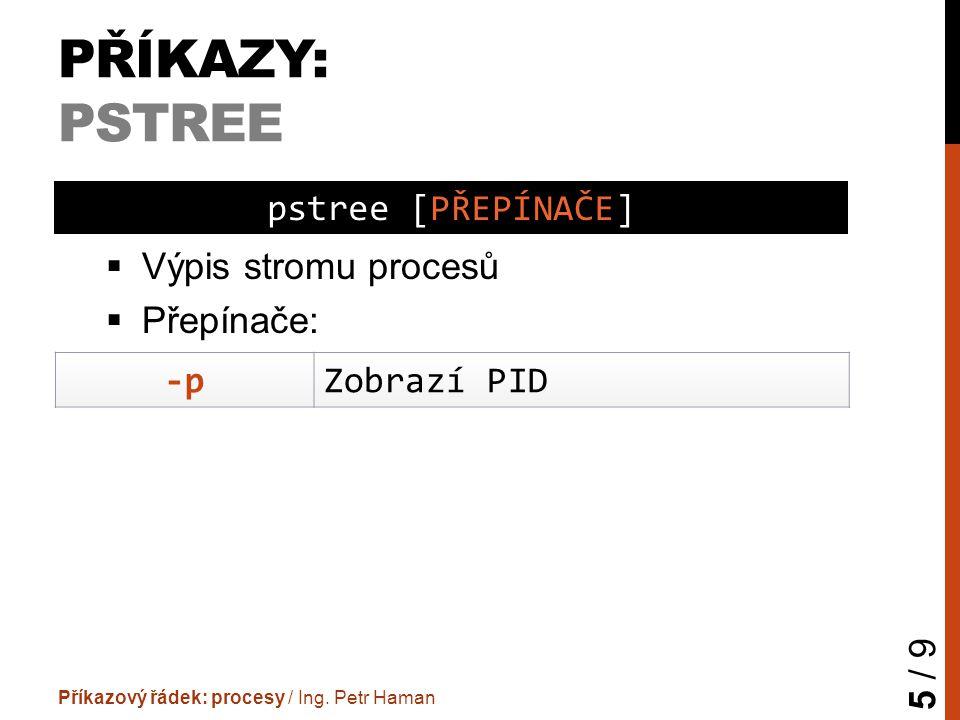 PŘÍKAZY: PSTREE  Výpis stromu procesů  Přepínače: Příkazový řádek: procesy / Ing. Petr Haman 5 / 9 pstree [PŘEPÍNAČE] -pZobrazí PID