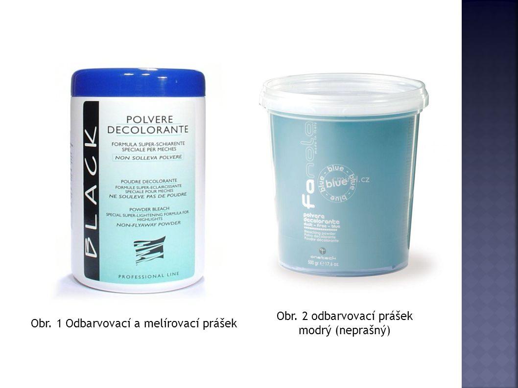 Obr. 1 Odbarvovací a melírovací prášek Obr. 2 odbarvovací prášek modrý (neprašný)