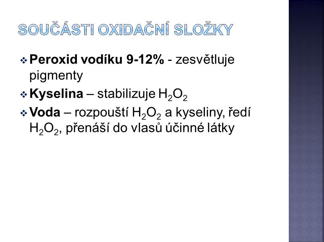  Peroxid vodíku 9-12% - zesvětluje pigmenty  Kyselina – stabilizuje H 2 O 2  Voda – rozpouští H 2 O 2 a kyseliny, ředí H 2 O 2, přenáší do vlasů úč