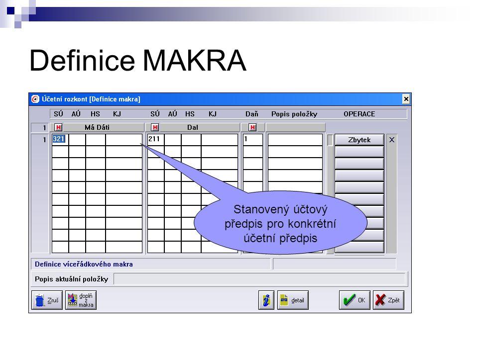 Definice MAKRA Stanovený účtový předpis pro konkrétní účetní předpis