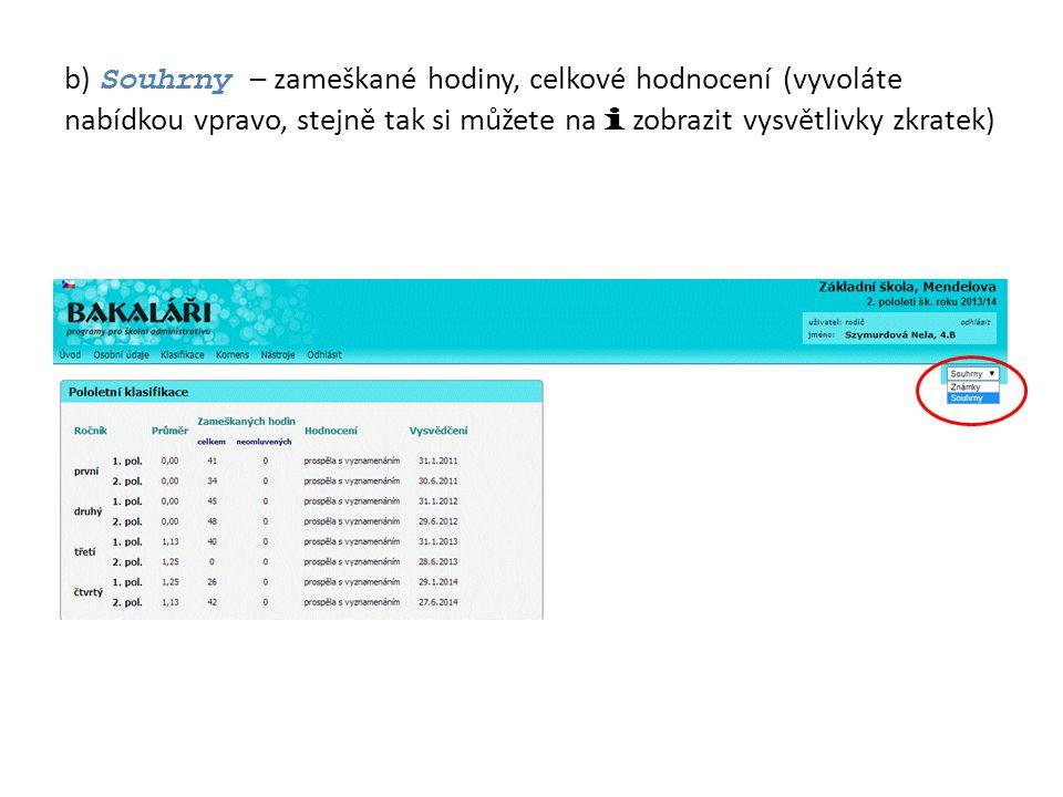 b) Souhrny – zameškané hodiny, celkové hodnocení (vyvoláte nabídkou vpravo, stejně tak si můžete na i zobrazit vysvětlivky zkratek)