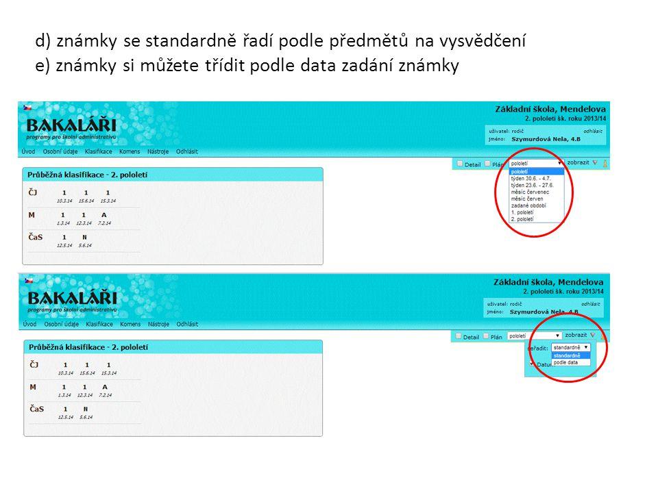 d) známky se standardně řadí podle předmětů na vysvědčení e) známky si můžete třídit podle data zadání známky