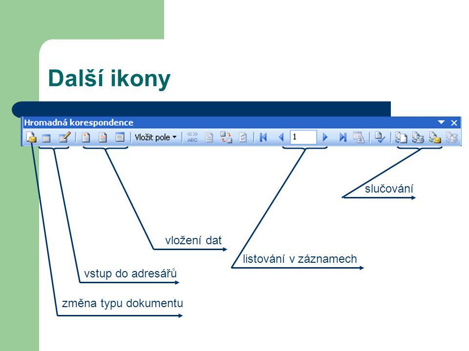 vstup do adresářů Další ikony změna typu dokumentu vložení dat listování v záznamech slučování