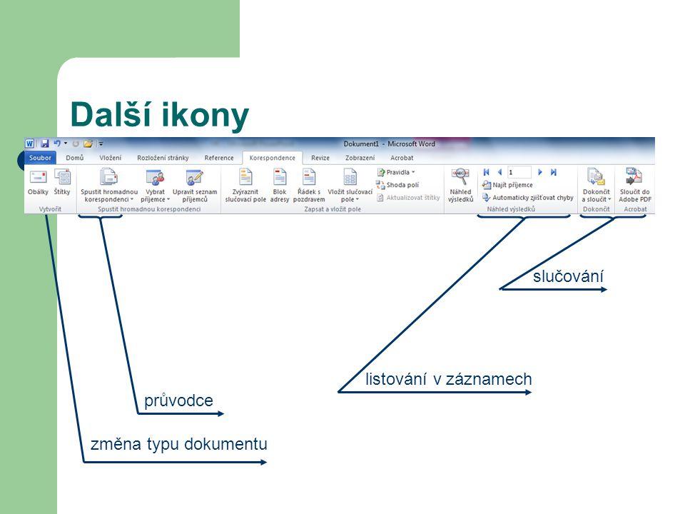 průvodce Další ikony změna typu dokumentu listování v záznamech slučování